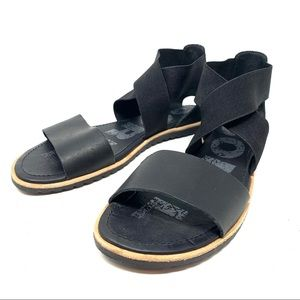 Sorel Womens Ella Sandals Black Sz 8 C29